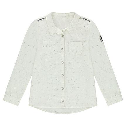 Junior - Chemise manches longues en coton slub avec galons et badges