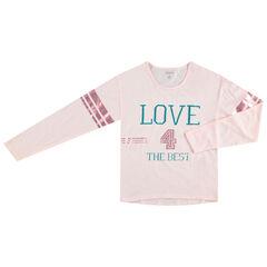 Junior - T-shirt manches longues avec inscriptions printées et bandes brillantes