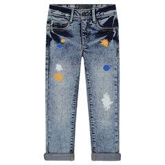 Junior - Jeans effet neige avec tâches de peinture