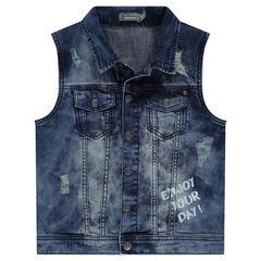 Junior - Veste en jeans effet used sans manches