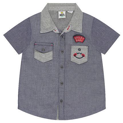 Chemise manches courtes avec poche et badges ©Smiley