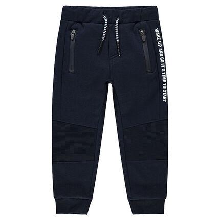 Pantalon de jogging avec poches zippées et inscriptions printées