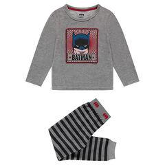 Pyjama en velours avec print ©Warner Batman et bas rayé