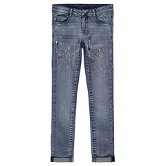 Junior - Jeans slim avec taches de peinture printées