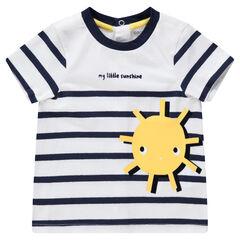 Tee-shirt manches courtes rayé avec soleil printé