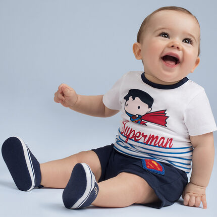 Ensemble en jersey avec tee-shirt print ©Warner/Chibi Superman et bermuda uni