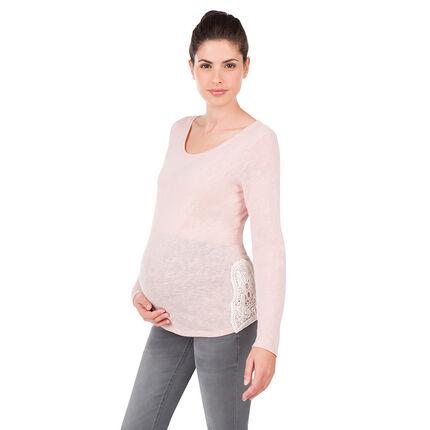 Tee-shirt manches longues de grossesse avec empiècements dentelle
