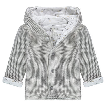Gilet à capuche en tricot doublé de jersey imprimé all-over