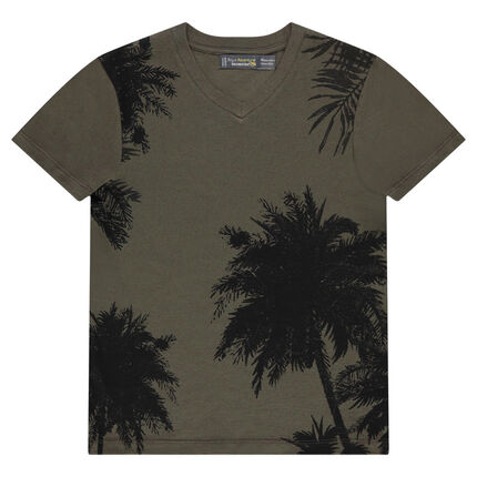 Tee-shirt manches courtes en jersey avec palmiers printés