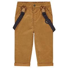 Pantalon en coton doublé jersey avec bretelles amovibles