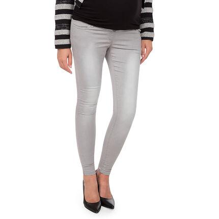 Jeans en molleton effet used à bandeau haut