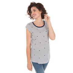 Tee-shirt de grossesse manches courtes à pois et rayures