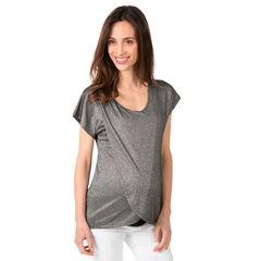 Tee-shirt manches courtes en maille fantaisie mélangée de lurex