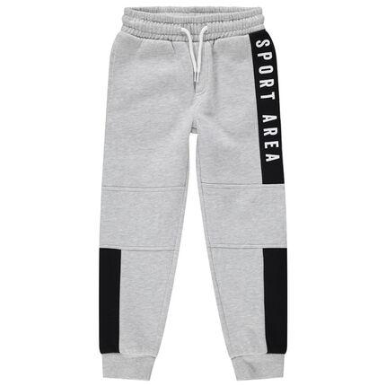 Pantalon de jogging en molleton avec découpes et inscriptions printées