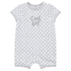 Combinaison courte en jersey avec inscription printée