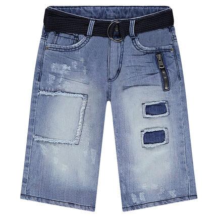 Junior - Bermuda en jeans à patchs avec ceinture amovible