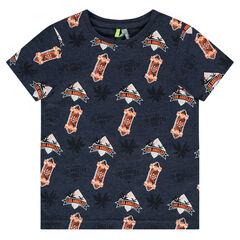 Tee-shirt manches courtes en jersey printé all-over