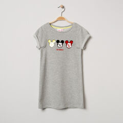 Robe manches courtes en maille chinée print Mickey Disney