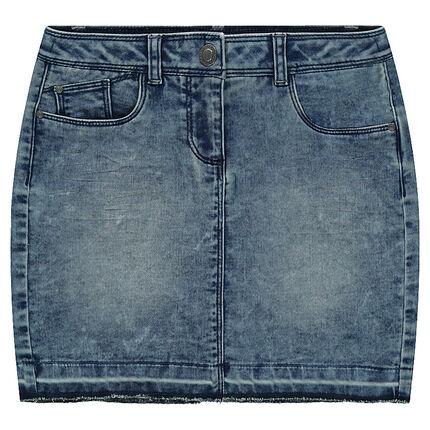 Jupe en jeans effet molleton used et crinkle