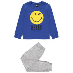 Pyjama en jersey motif Smiley en sherpa