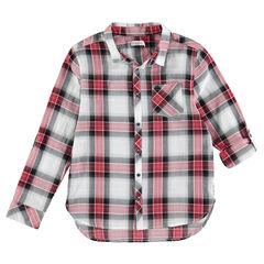 Junior - Chemise manches longues à grands carreaux contrastés et poche