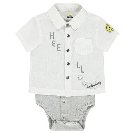 Body manches courtes effet 2 en 1 style chemise ©Smiley