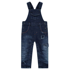 Salopette en molleton effet jeans used à poches