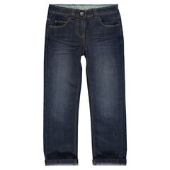Jeans coupe droite effet used