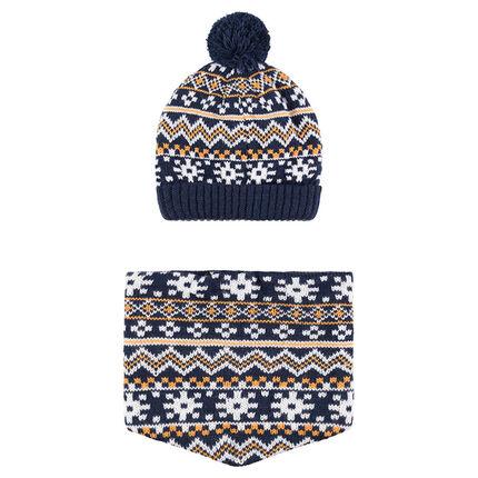 Ensemble bonnet et snood doublé micropolaire motifs jacquard