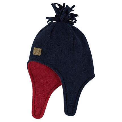 Bonnet en micropolaire bicolore avec pompon cousu