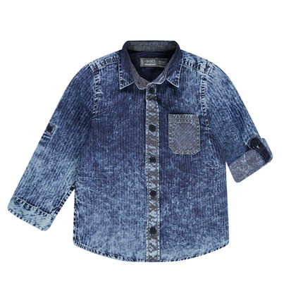 Chemise manches longues effet jeans rayé délavé