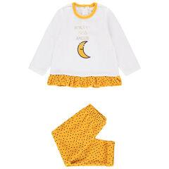 Pyjama en velours volanté motif lune