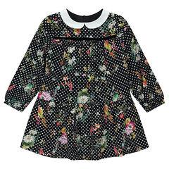 Robe manches longues en satin de coton à pois et fleurs all-over