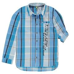 Junior - Chemise manches longues à carreaux et texte printé