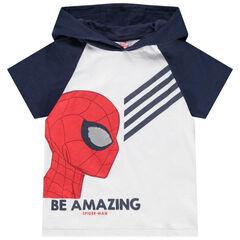 T-shirt manches courtes à capuche print Spiderman et oeil en sequins magiques