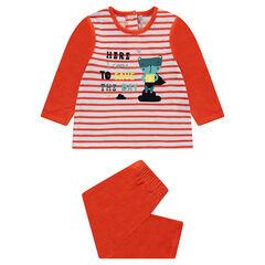 Pyjama en velours avec rayures et animal printé