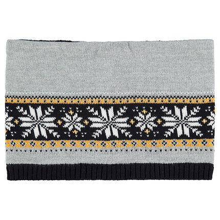 Snood en tricot avec motif jacquard et doublure en sherpa