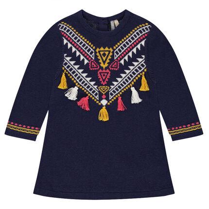Robe en tricot avec motif ethnique jacquard et pompons