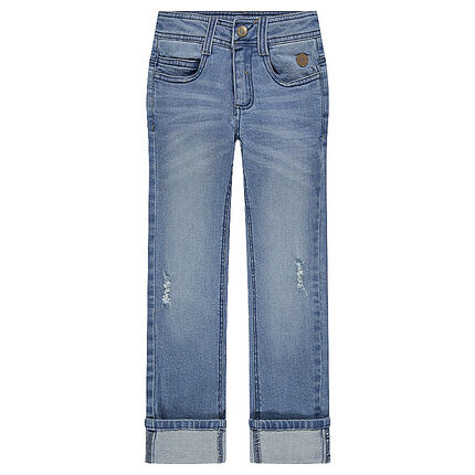 Jeans coupe slim effet used et crinkle