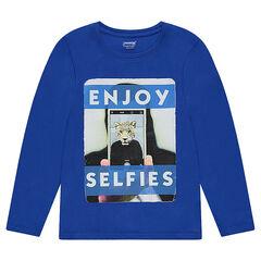Junior - Tee-shirt manches longues en jersey uni avec print fantaisie