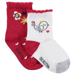 Lot de 2 paires de chaussettes assorties avec fleurs et oiseau en jacquard