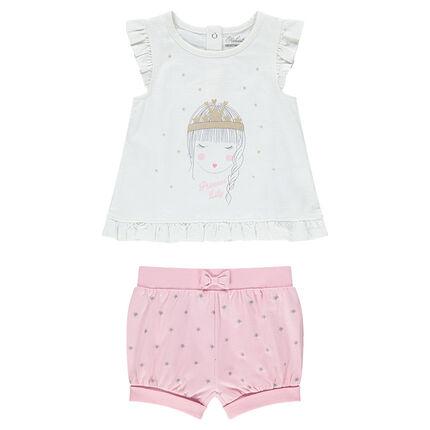 Ensemble avec tee-shirt print princesse et short imprimé étoiles