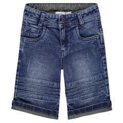 Bermuda en jeans effet used et crinkle avec surpiqûres