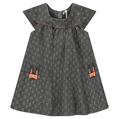 Robe manches courtes en chambray avec lapins imprimés all-over