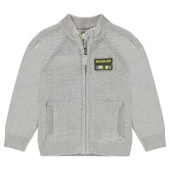 Gilet en tricot zippé avec badge patché sur la poitrine