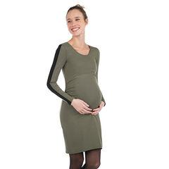 Robe de grossesse manches longues en maille avec bandes contrastées