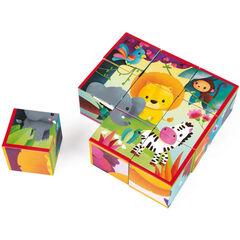 Puzzle 9 cubes animaux de la jungle