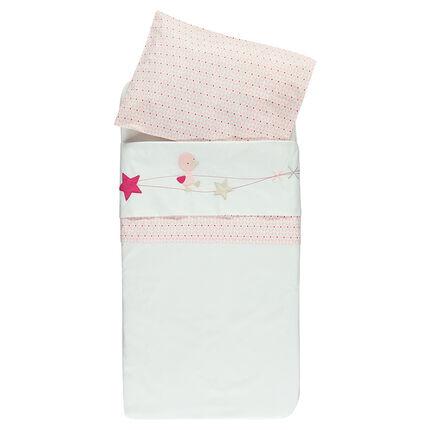 Parure drap + taie d'oreiller pour berceau avec broderies et imprimé - 113 x 83 cm