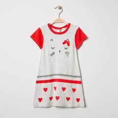 Robe manches courtes en tricot motif chat et coeurs en jacquard