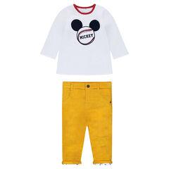 c3fb405a87d05 Ensemble tee-shirt manches longues réversible Mickey et pantalon en velours